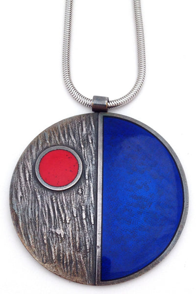 de Passille-Sylvestre Canada large vintage modernist pop art enamel necklace