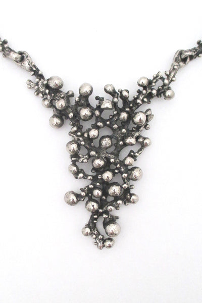 detail Robert Larin Canada vintage brutalist pewter large bib necklace
