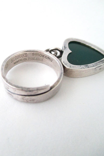 Matti Hyvarinen Finland vintage silver & chrysoprase kinetic heart ring