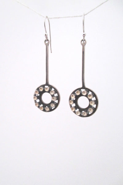 detail Uni David Andersen Scandinavian Modern vintage silver drop earrings by Marianne Berg
