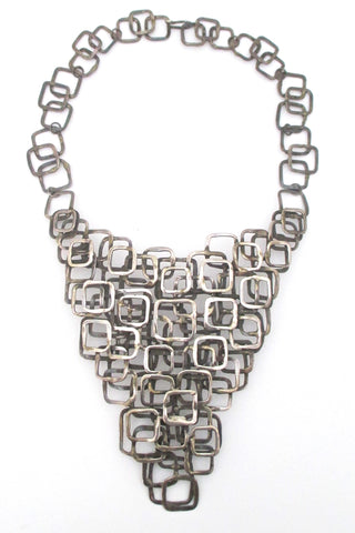 mid century modern studio made sterling silver large necklace statement piece