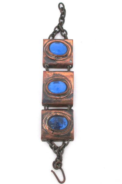 Rafael Canada copper & bright blue link bracelet