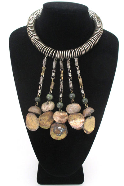 Dona Mexico massive mixed metals & stone kinetic collier
