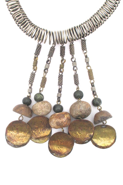 detail Dona Mexico massive vintage collier necklace in mixed metals and ancient stone beads statement piece