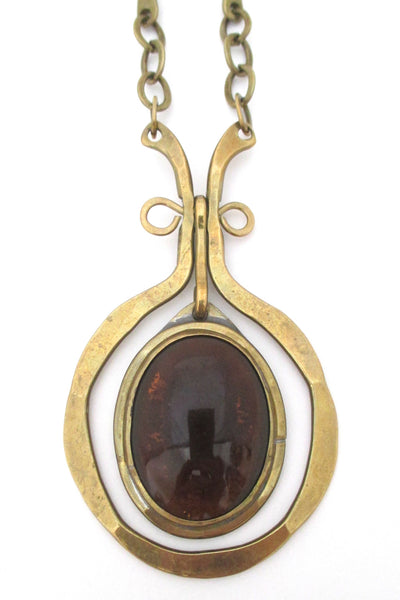 Rafael Canada large brass & dark amber kinetic pendant necklace