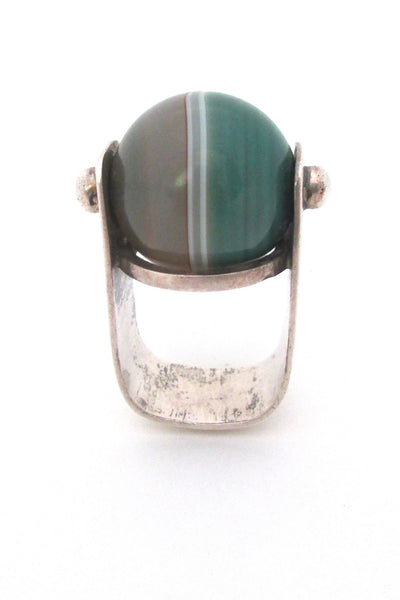 profile vintage modernist sterling silver large statement ring with banded agate