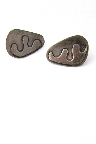 vintage sterling silver studio made large biomorphic cuff links