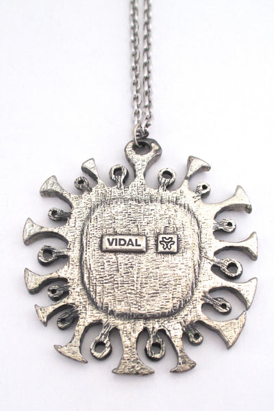 Guy Vidal brutalist sun large pendant necklace