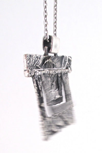 Guy Vidal large kinetic textured pewter pendant necklace
