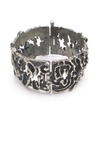 Guy Vidal heavily textured wide hinged bracelet