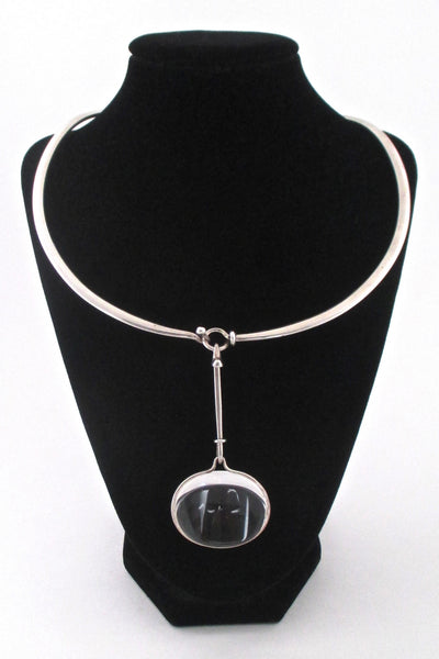 stand - Vivianna Torun for Georg Jensen Denmark large Dew Drop rock crystal neck ring and pendant