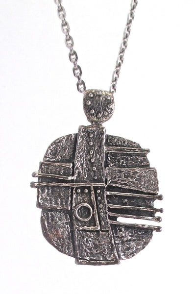 detail Guy Vidal Canada vintage brutalist pewter dots and stripes large pendant necklace