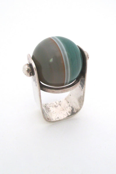 banded agate and silver large statement ring