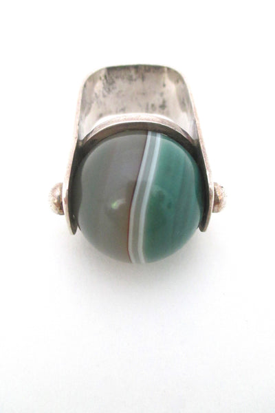 detail vintage modernist sterling silver large statement ring with banded agate