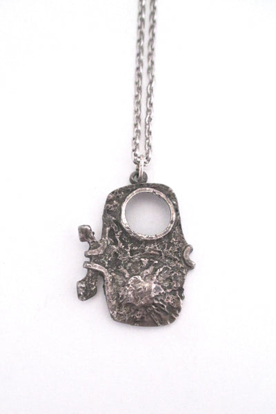 detail Guy Vidal Canada vintage brutalist pewter little fish pendant necklace