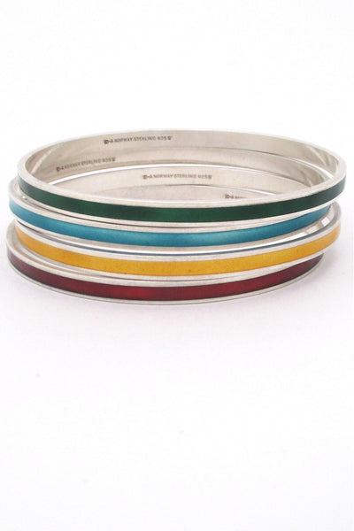 David-Andersen Norway vintage Scandinavian Modernist sterling silver & enamel bangle bracelets