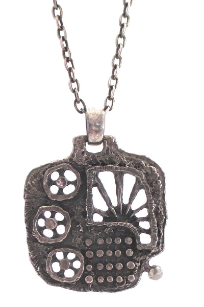 detail Guy Vidal Canada vintage 1970s brutalist pierced pewter openwork large pendant necklace