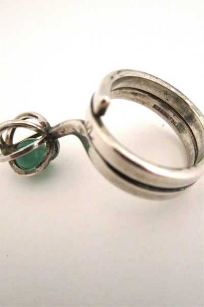 Elis Kauppi caged chrysoprase ring