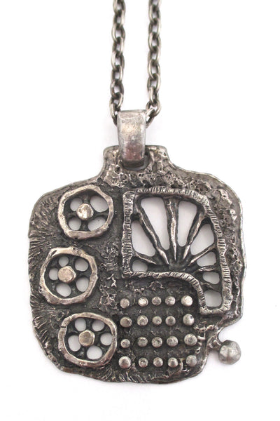 Guy Vidal large pierced pewter pendant necklace