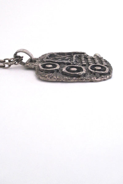 profile Guy Vidal Canada vintage 1970s brutalist pierced pewter openwork large pendant necklace