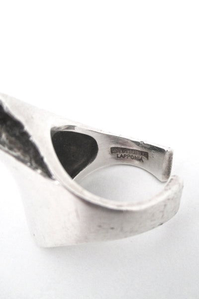 Poul Havgaard for Lapponia sculptural silver 'Balance' ring 1976