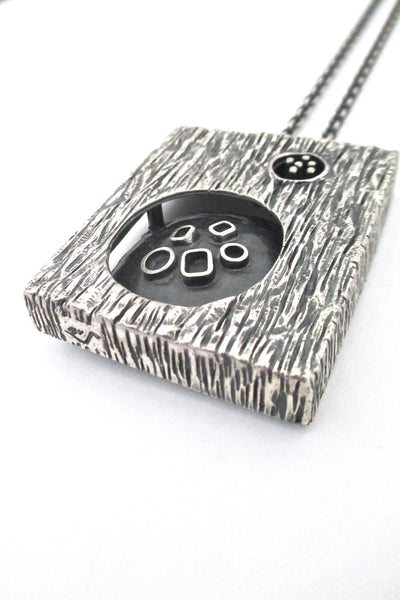 detail Guy Vidal Canada vintage brutalist pewter large double sided shadowbox pendant necklace