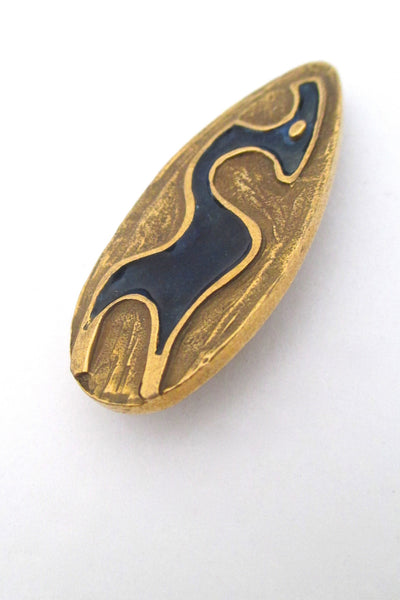 detail Bernard Chaudron Canada vintage brutalist bronze enamel abstract animal brooch