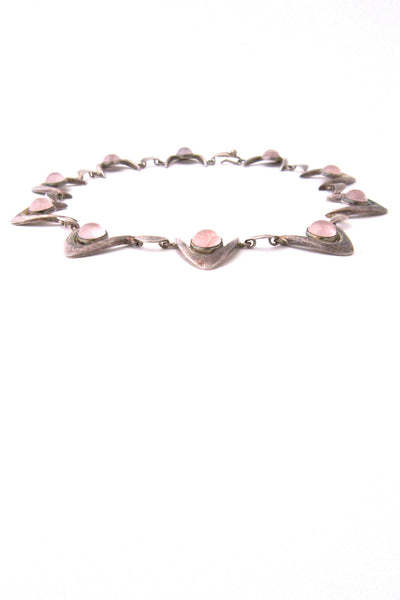 Arne Johansen, Denmark sterling silver & rose quartz modernist boomerang necklace