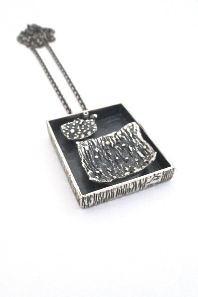 side two Guy Vidal Canada vintage brutalist pewter large double sided shadowbox pendant necklace