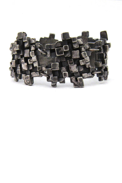 Canadian Modernist Guy Vidal pewter cubes bracelet