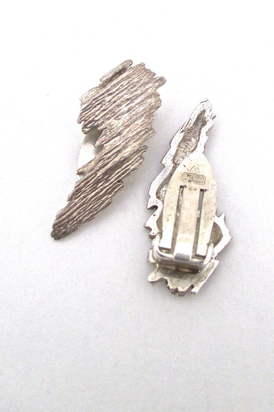 detail Knud V Andersen for Anton Michelsen Denmark vintage Modernist silver Bark ear clips