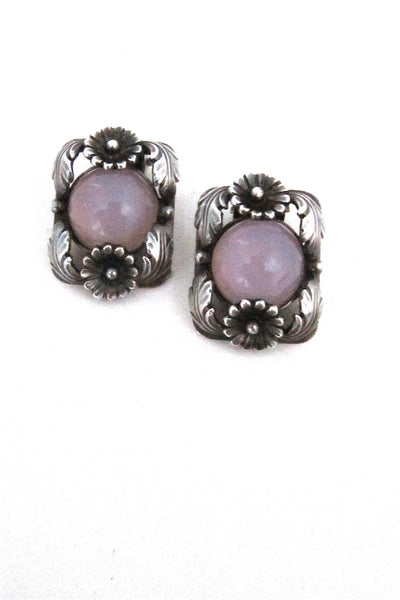 N E From, Denmark vintage sterling silver and pink moonglow earrings