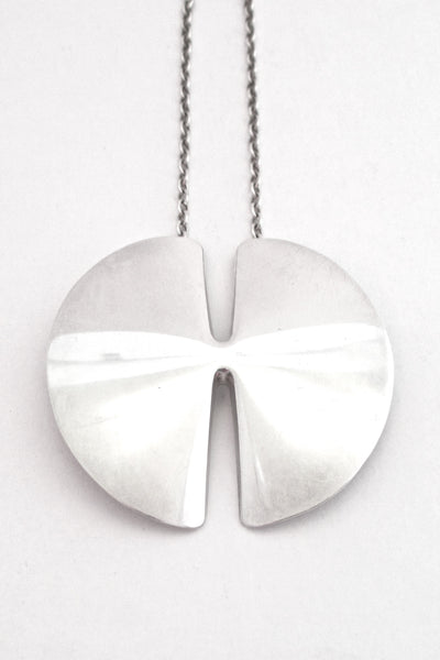 detail Georg Jensen Denmark Modernist silver pendant necklace 337A in the large size by Nanna Ditzel 1963
