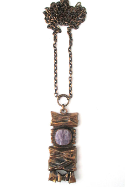 Pentti Sarpaneva Finland vintage bronze & amethyst necklace at Samantha Howard Vintage