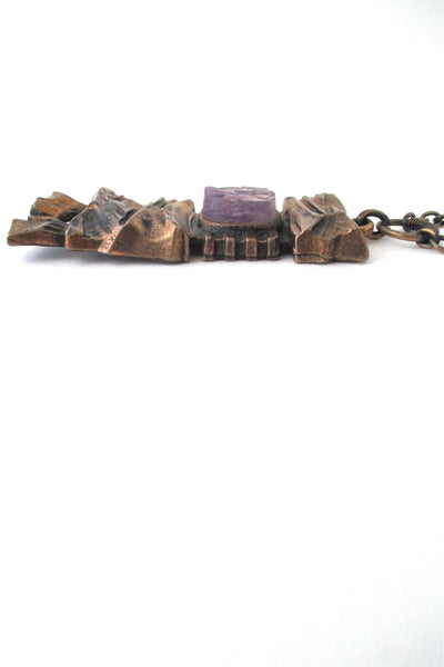 Pentti Sarpaneva bronze & rough amethyst pendant necklace