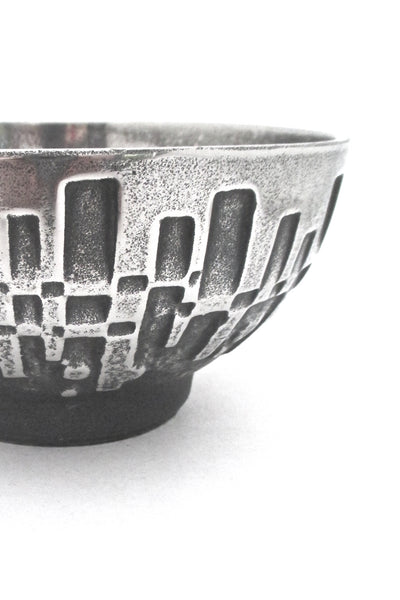 detail Olav Joff for Polaris Norway vintage brutalist Steel Art bowl