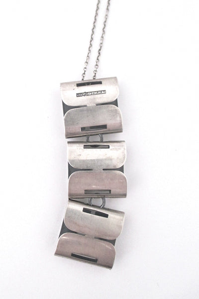 Elis Kauppi long articulated silver pendant necklace - 1968