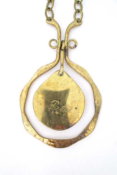 Rafael Canada large brass & lichen green kinetic pendant necklace