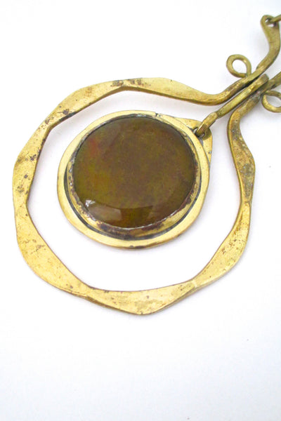 glass stone Rafael Alfandary Canada vintage large mid century brass glass kinetic pendant necklace