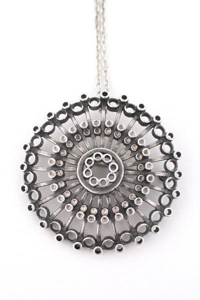 Uni David Andersen large silver pendant / brooch by Marianne Berg