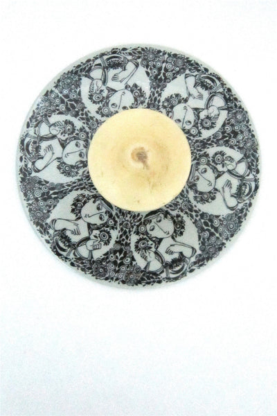 Bjorn Wiinblad for Nymolle Denmark candle plate with original Wiinblad candle