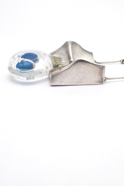 profile Bjorn Weckstrom for Lapponia Finland extra large Big Drop silver acrylic pendant necklace 1971