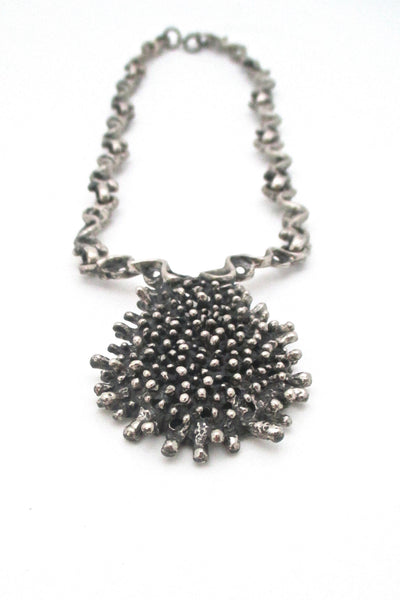 Robert Larin large brutalist pierced pewter neck piece