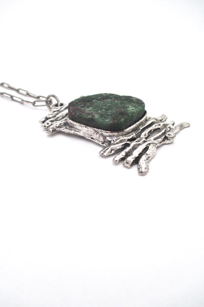 profile vintage brutalist sterling silver ruby-zoisite large pendant necklace on original chain