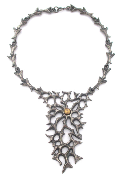 Robert Larin large & dramatic bib necklace ~ bronze sphere