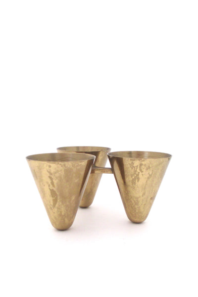 detail Ystad Metall Sweden vintage brass candle holder by Gunnar Ander mid century modern design