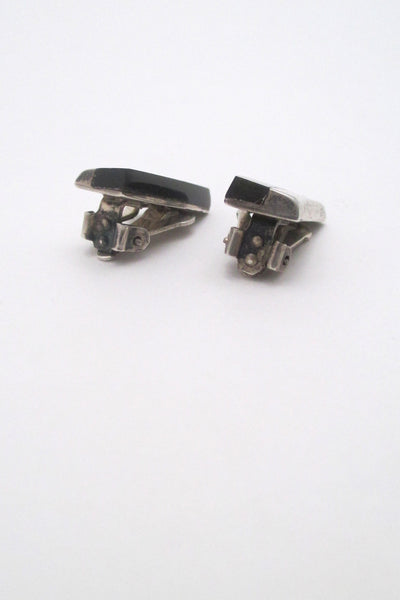 Enrique Ledesma vintage silver & obsidian sleek ear clips