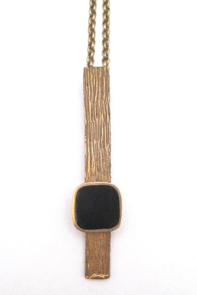 detail Bernard Chaudron Canada vintage brutalist bronze black resin enamel long pendant necklace