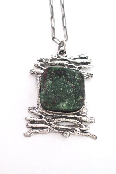 detail vintage brutalist sterling silver ruby-zoisite large pendant necklace on original chain