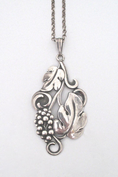 detail Carl M Cohr Denmark vintage 830 silver large leaves and berries pendant necklace